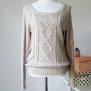 GAP Cream Chunky Knit Sweater With Sequins Size M
